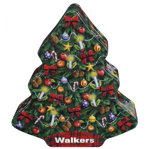 "Top Food Feinkost - Walkers Shortbread Ltd. ""Christmas Tree"" Mini Shortbread Trees 225g - Dose. Shortbread in Form eines Christbaumes verpackt in festlicher Reliefdose"
