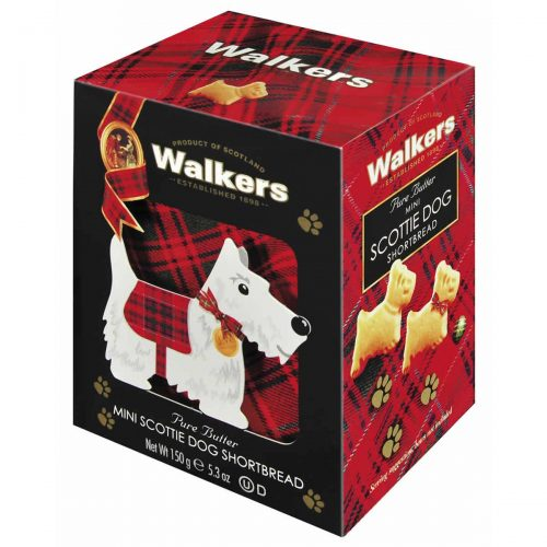 Top Food Feinkost - Walkers Shortbread Ltd. Mini Scottie Dog Shortbread 150g - 3D Karton. Geschenkkarton in 3D-Optik