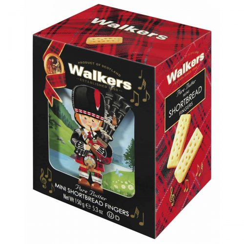 "Top Food Feinkost - Walkers Shortbread Ltd. ""Piper"" Mini Shortbread Fingers 150g - 3D Karton. Geschenkkarton ""Piper"" in 3D-Optik"