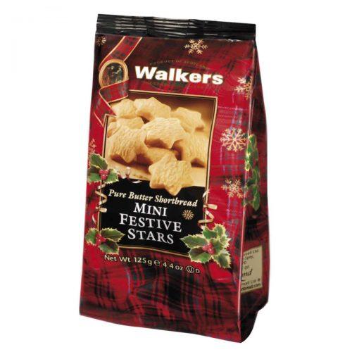 Top Food Feinkost - Walkers Shortbread Ltd. Mini Festive Shortbread Stars 125g. Shortbread in weihnachtlicher Sternform im wiederverschließbaren Cellobeutel