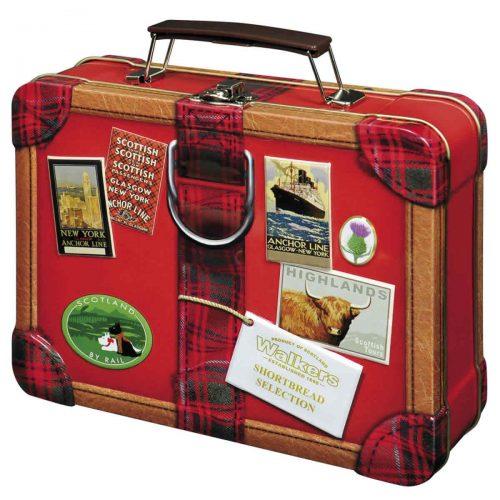 "Top Food Feinkost - Walkers Shortbread Ltd. ""Suitcase"" Mini Shortbread 250g - Dose. Attraktive Reliefdose in Form eines Reisekoffers"