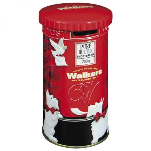 """Top Food Feinkost - Walkers Shortbread Ltd. """"Post Box"""" Shortbread Rounds 200g - Dose. Hochwertige Geschenkbox in Form eines typisch britischen Briefkastens gefüllt mit den leckeren Shortbread Rounds"""