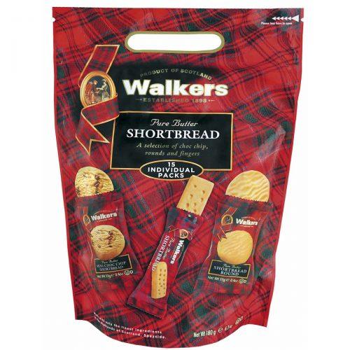 """Top Food Feinkost - Walkers Shortbread Ltd. """"Sharing Carry Bag""""  Shortbread Assortment 180g. Wiederverschließbare Hochglanztüte mit Griff"""