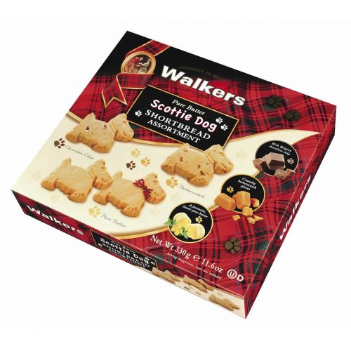 "Top Food Feinkost - Walkers Shortbread Ltd. ""Scottie Dog""  Shortbread Assortment 330g. Große Geschenkpackung mit 3 leckeren Sorten Shortbread in Scottie Dog-Form: Chocolate Chip"