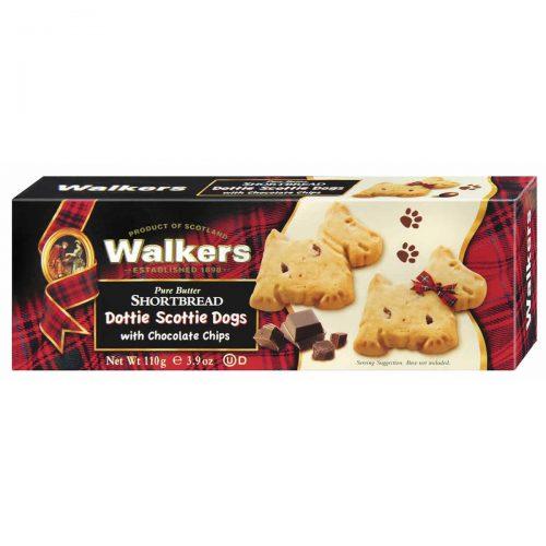 """Top Food Feinkost - Walkers Shortbread Ltd. """"Dottie Scottie Dogs"""" Shortbread with Chocolate Chips 110g. Kleine Scottie Dogs aus dem klassischen Shortbread-Teig mit Chocolate Chips"""