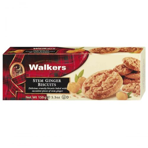 Top Food Feinkost - Walkers Shortbread Ltd. Stem Ginger Biscuits 150g. Knusprige Cookies mit kandiertem Ingwer