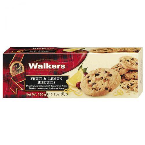 Top Food Feinkost - Walkers Shortbread Ltd. Fruit & Lemon Biscuits 150g. Sommercookie mit kandierter Zitronenschale und mediteranen Trauben
