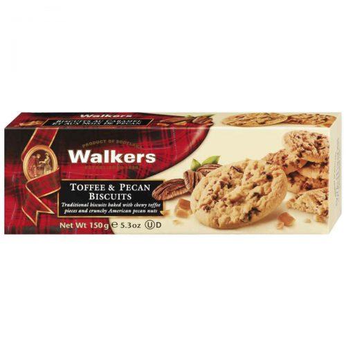 Top Food Feinkost - Walkers Shortbread Ltd. Toffee & Pecan Biscuits 150g. Pekannusscookies mit Karamellstücken