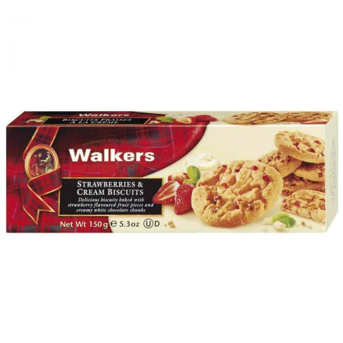 Top Food Feinkost - Walkers Shortbread Ltd. Strawberry & Cream Biscuits 150g. Erdbeercookies mit Sahne