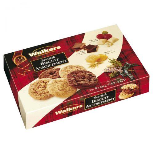 Top Food Feinkost - Walkers Shortbread Ltd. Scottish Biscuit Assortment 250g. Gebäckmischung mit drei Sorten Cookies: 1) belgische Schokolade 2) weiße Schokolade & Himbeere 3) Heidehonig & Haferflocken