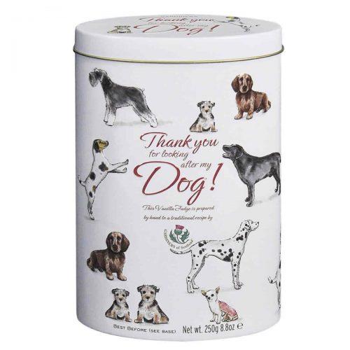 """Top Food Feinkost - Gardiners of Scotland """"Tank you - Dog"""" Vanilla Fudge 250g - Dose. Butterkaramell mit Vanillegeschmack in einer attraktiven Geschenkdose mit """"Thank you for looking after my Dog""""-Reliefdruck"""