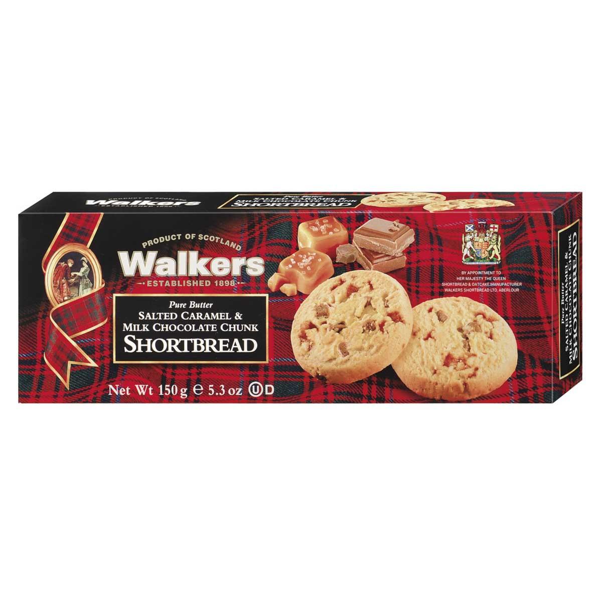Top Food Feinkost - Walkers Shortbread Ltd. Salted Caramell Shortbread 150g. Schottisches Buttergebäck mit Salzkaramell und Milchschokoladenstückchen verfeinert