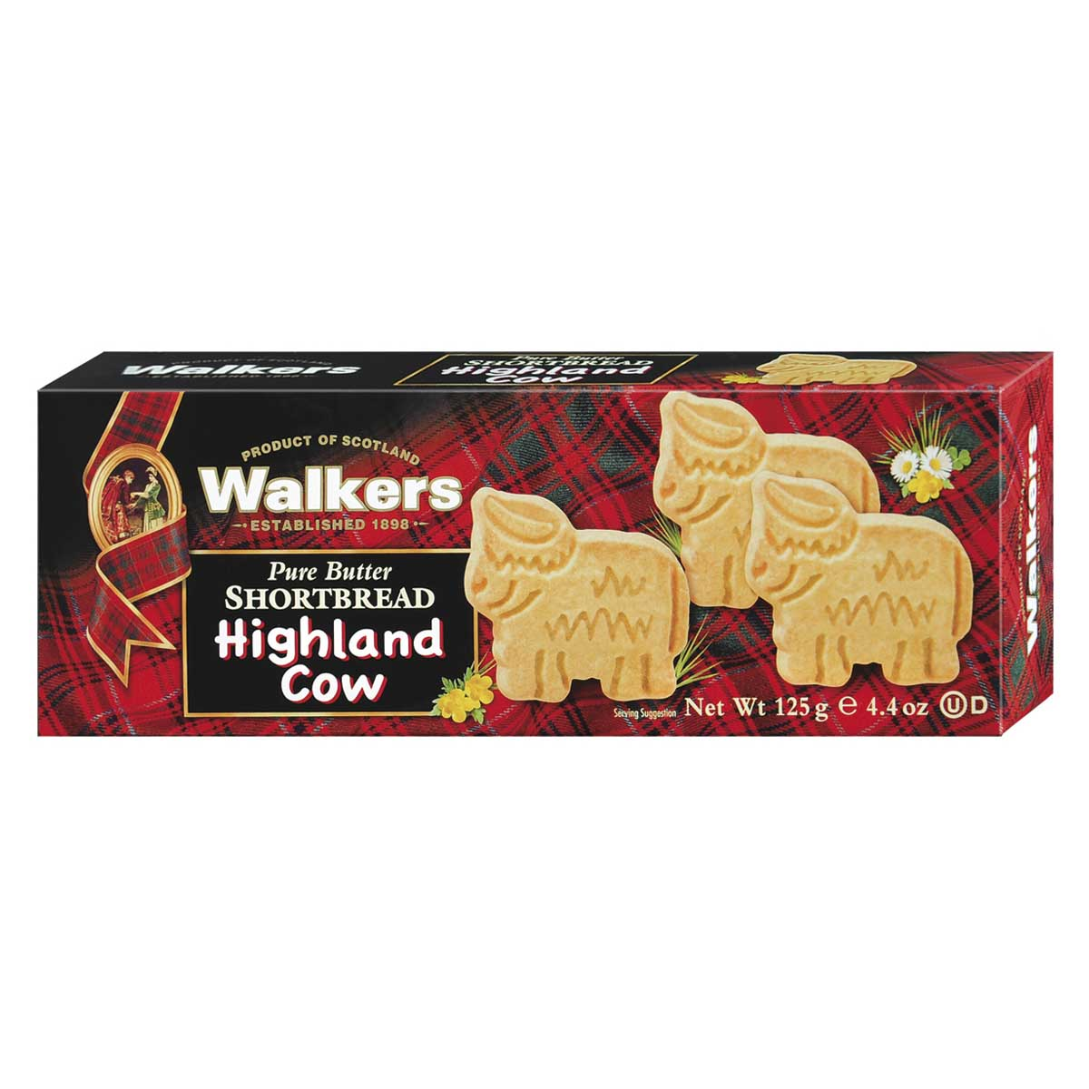 "Top Food Feinkost - Walkers Shortbread Ltd. ""Highland Cow Shapes"" Shortbread 125g. Schottisches Buttergebäck in Form der berühmten Highland Cows"