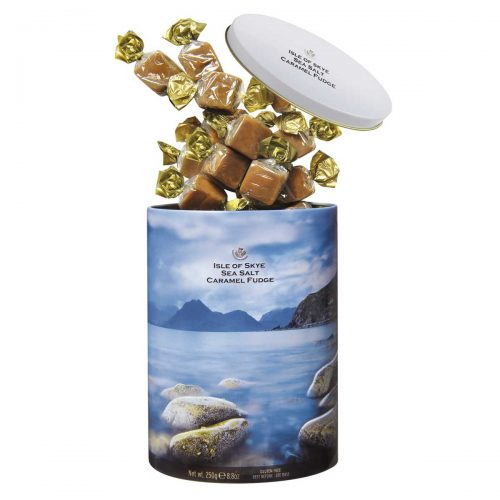 "Top Food Feinkost - Gardiners of Scotland ""Isle of Sky"" Sea Salt Fudge 300g - Dose. Weiches Butterkaramell mit dem Meersalz der berühmten Isle of Skye"