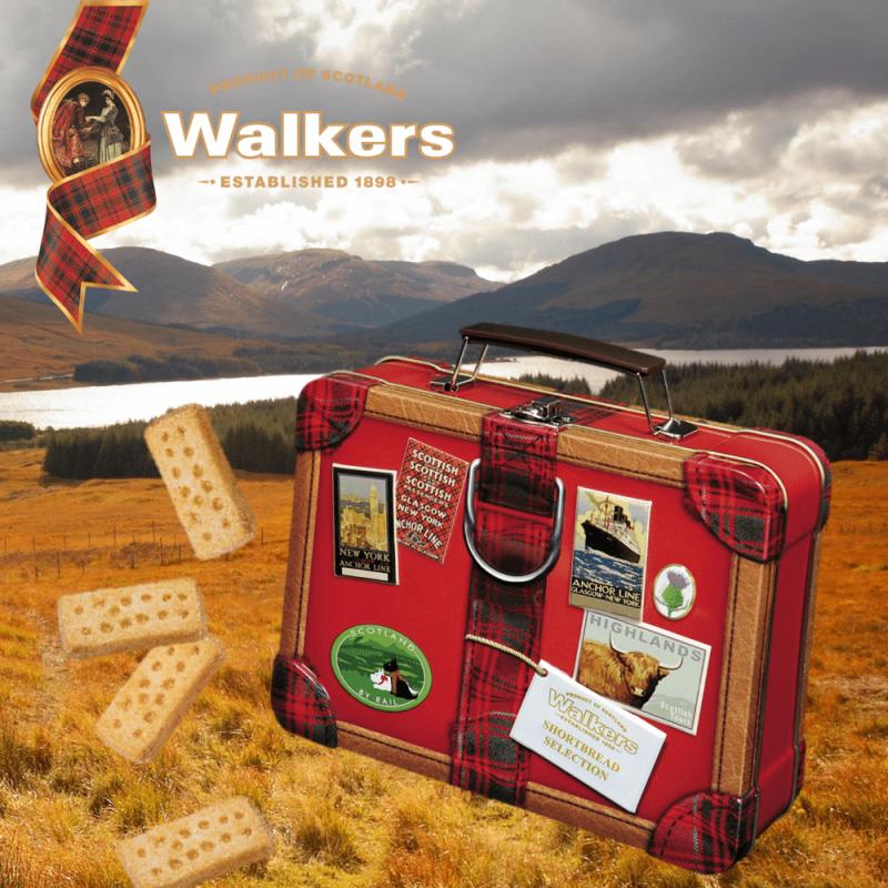 Top Food Feinkost - Walkers Shortbread Reise-Koffer Koffer aus Metall mit Shortbread gefüllt
