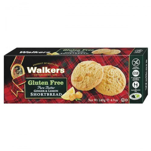 Top Food Feinkost - Walkers Shortbread Ltd. Gluten free Lemon & Ginger 140g | Shortbread mit Ingwer und Zitrone