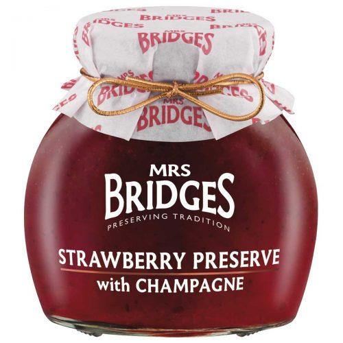Top Food Feinkost - Mrs Bridges Strawberry Preserve with Champagne 340g |Erdbeer Konfitüre extra mit Champagner verfeinert