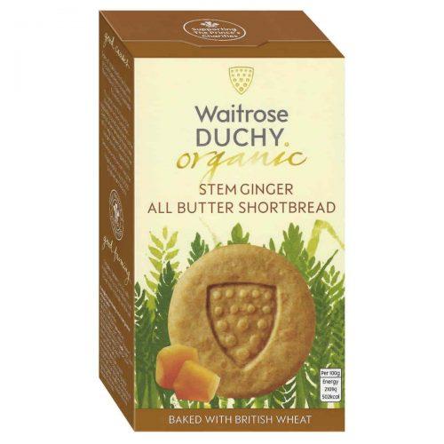 Top Food Feinkost - Waitrose Duchy Organic Stem Ginger Shortbread - BIO 150g |Bio-Buttergebäck mit frischer Butter und kandiertem Ingwer