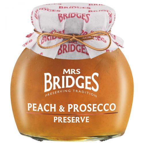 Top Food Feinkost - Mrs Bridges Peach and Prosecco Preserve 340g |Pfirsichkonfitüre mit einem Schuß Prosecco verfeinert
