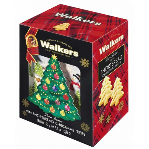 Top Food Feinkost - Walkers Shortbread Ltd. Mini Shortbread Christmas Trees 150g - 3D-Karton | Mini Christmas Trees im Geschenkkarton in 3D-Optik