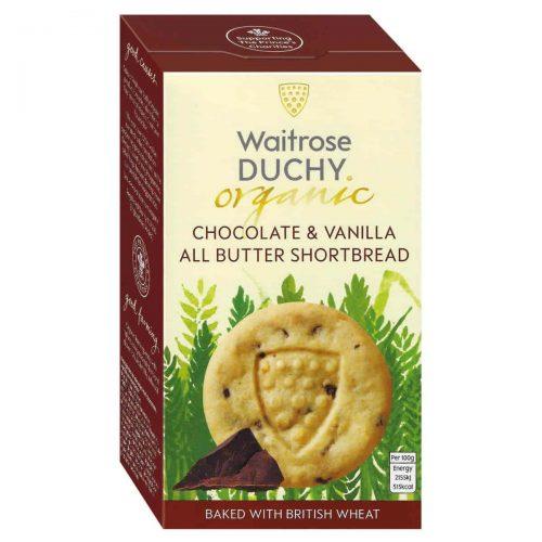 Top Food Feinkost - Waitrose Duchy Organic Chocolate & Vanilla Shortbread - BIO 150g |Bio-Buttergebäck mit frischer Butter