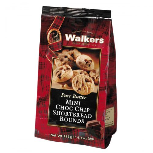 Top Food Feinkost - Walkers Shortbread Ltd. Mini Chocolate Chip Rounds 125g | Mini Chocolate Chip Shortbread Rounds im wiederverschließbaren Cellobeutel