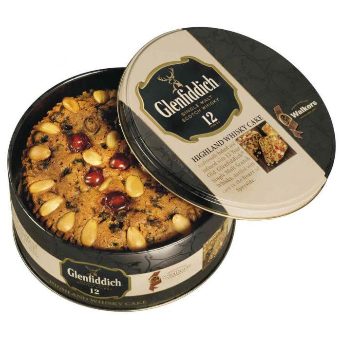Top Food Feinkost - Walkers Shortbread Ltd. Glenfiddich Whisky Cake  800g - Dose |Früchtekuchen verfeinert mit einem Schuss Glenfiddich Single Malt Whisky