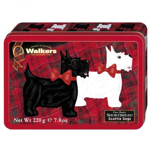 Top Food Feinkost - Walkers Shortbread Ltd. Scottie Dog shaped Shortbread 220g - Dose | Kleine Scottie Dogs Shortbread in einer attraktiven Reliefdose