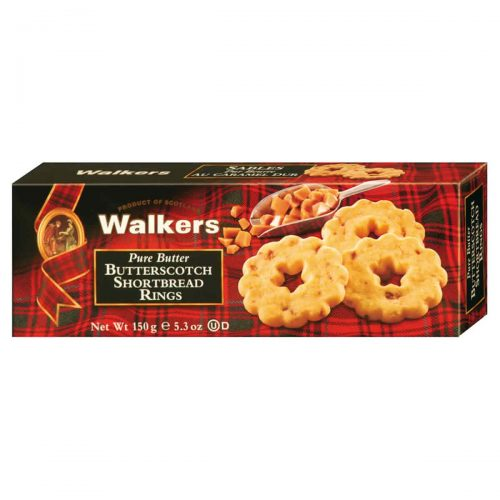 Top Food Feinkost - Walkers Shortbread Ltd. Butterscotch Shortbread Rings 150g | Shortbread Rings mit vielen Karamellstücken