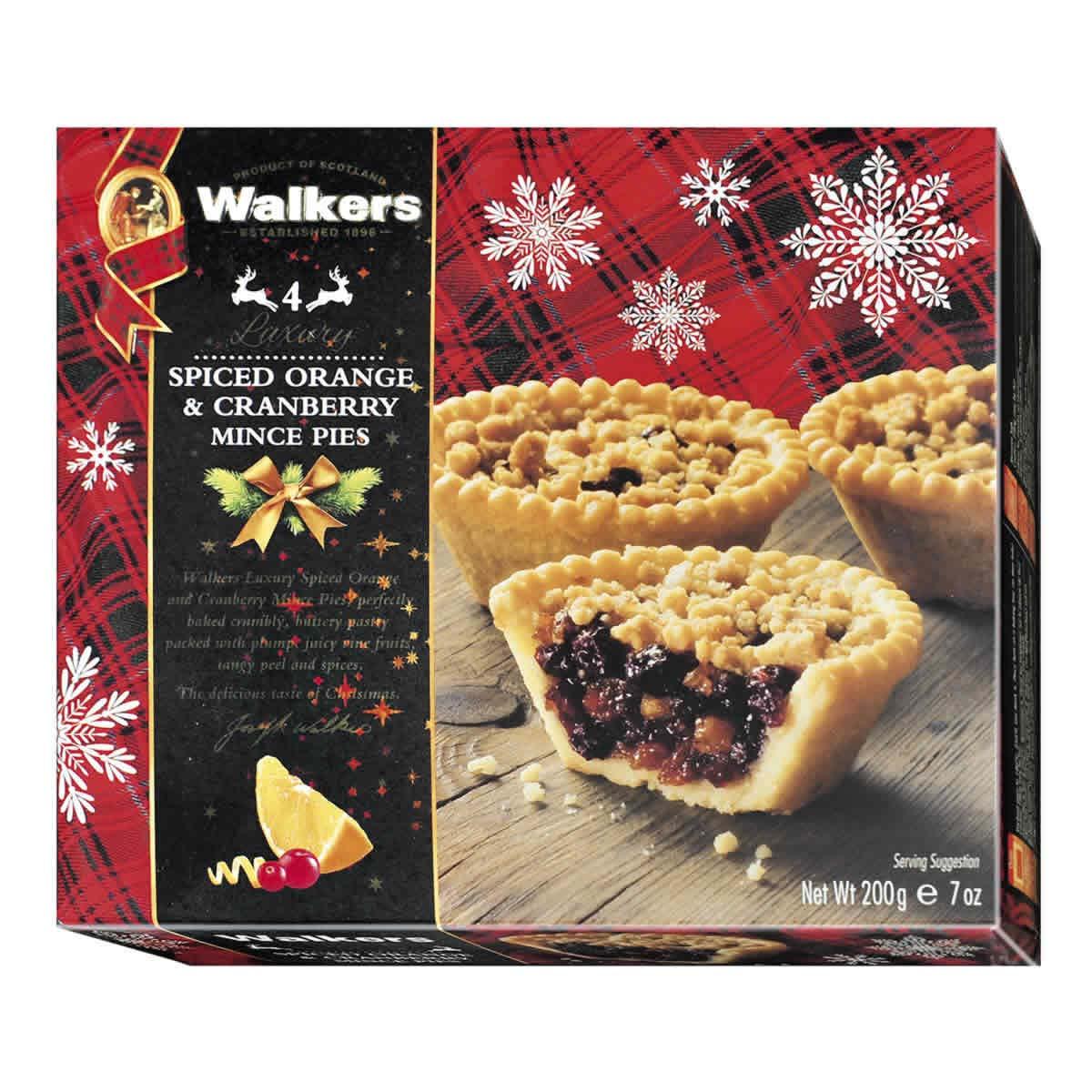 Top Food Feinkost - Walkers Shortbread Ltd. Luxury Spiced Orange & Cranberry  Mince Pies 200g |Kleine Gewürzkuchen mit kandierter Orange und Cranberries