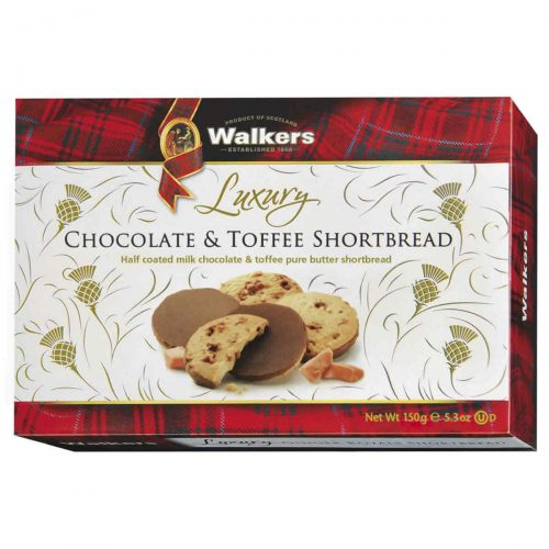 Top Food Feinkost - Walkers Shortbread Ltd. Luxury Chocolate & Toffee Shortbread 160g | Karamell Shortbread halbseitig mit zarter Vollmilchschokolade überzogen