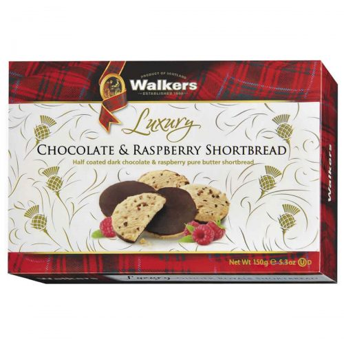 Top Food Feinkost - Walkers Shortbread Ltd. Luxury Chocolate & Raspberry Shortbread 160g | Himbeer-Shortbread halbseitig mit zarter
