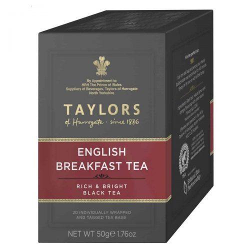 Top Food Feinkost - Taylors of Harrogate English Breakfast Tea 50g - 20 Aufgussbeutel |Teemischung aus verschiedenen Ländern in einer praktischen Portionierpackung