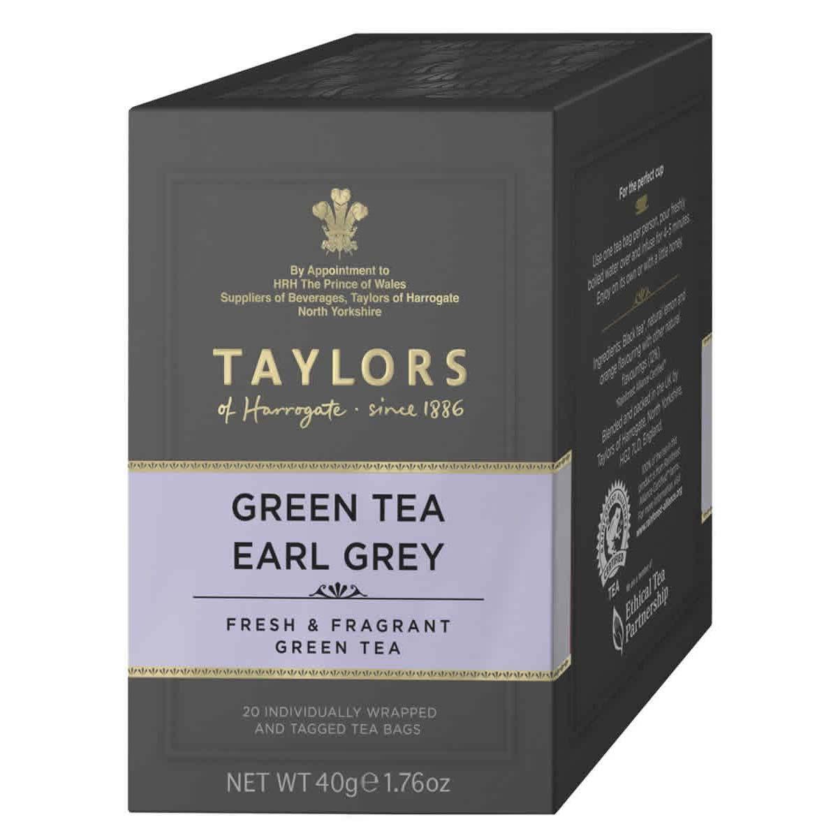 Top Food Feinkost - Taylors of Harrogate Green Tea Earl Grey 40g - 20 Aufgussbeutel |Grüner Earl Grey Tee mit Bergamottearoma in einer praktischen Portionierpackung