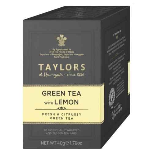 Top Food Feinkost - Taylors of Harrogate Green Tea with Lemon 40g - 20 Aufgussbeutel |Grüner Tee mit Zitrone in einer praktischen Portionierpackung