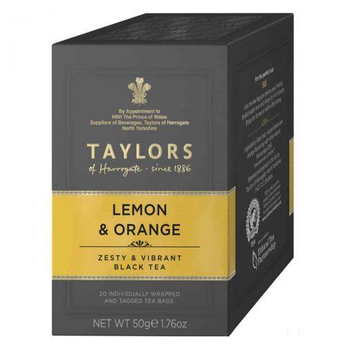 Top Food Feinkost - Taylors of Harrogate Lemon & Orange Tea 50g - 20 Aufgussbeutel |Schwarzer Tee mit Orange und Zitrone in praktischen Portionierpackung
