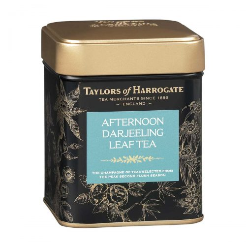 Top Food Feinkost - Taylors of Harrogate Afternoon Darjeeling Leaf Tea 125g |Schwarzer Darjeeling-Tee mit Muskateller Noten in einer attraktiven Geschenkdose