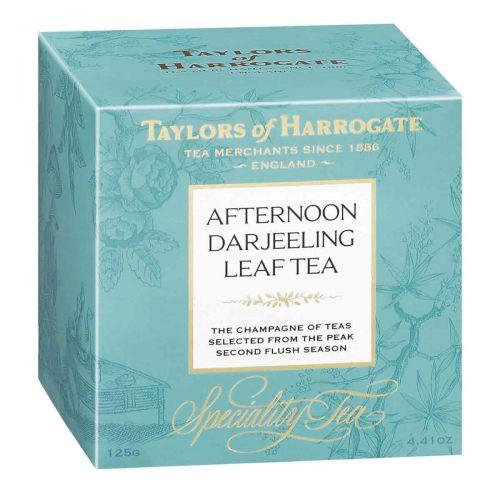 Top Food Feinkost - Taylors of Harrogate Afternoon Darjeeling Leaf Tea 125g |Schwarzer Darjeeling-Tee mit Muskateller Noten in einer hübschen Geschenkpackung