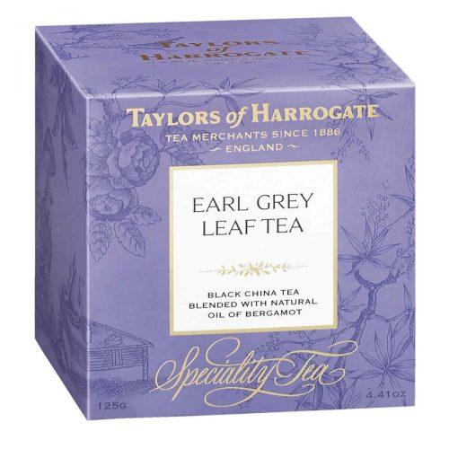 Top Food Feinkost - Taylors of Harrogate Earl Grey Leaf Tea 125g |Schwarzteemischung mit Bergamottearoma in einer hübschen Geschenkpackung