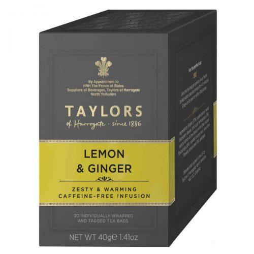 Top Food Feinkost - Taylors of Harrogate Lemon & Ginger 40g - 20 Aufgussbeutel |Fruchtig-würzige Teemischung aus feinstem Ingwer und erfrischender Zitrone