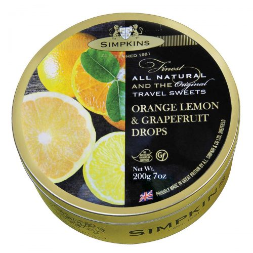 Top Food Feinkost - Simpkins Orange Lemon & Grapefruit Drops 200g - Dose | Original Travel Sweets - Orangen-