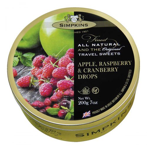 Top Food Feinkost - Simpkins Apple Raspberry & Cranberry Drops 200g - Dose | Original Travel Sweets - Apfel-