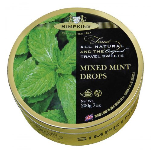Top Food Feinkost - Simpkins Mixed Mint Drops 200g - Dose | Original Travel Sweets - Gemischte Pfefferminzbonbons in einer runden Metalldose