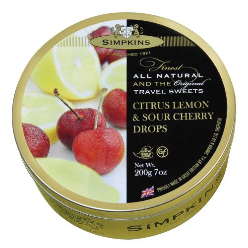 Top Food Feinkost - Simpkins Citrus Lemon & Sour Cherry Drops 200g - Dose | Original Travel Sweets - Zitronen- und Sauerkirsch-Bonbons in einer runden Metalldose