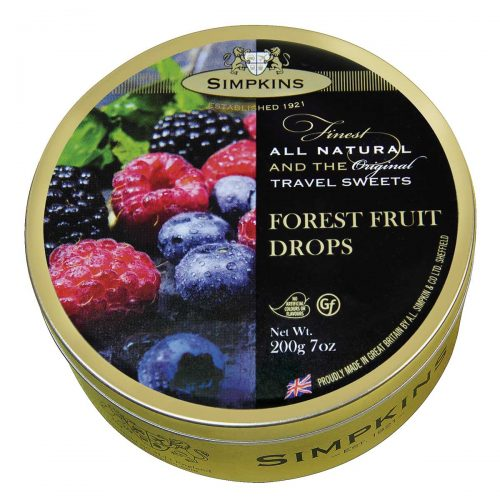 Top Food Feinkost - Simpkins Forest Fruit Drops 200g - Dose | Original Travel Sweets - Waldfruchtbonbons in einer runden Metalldose