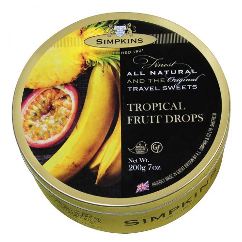 Top Food Feinkost - Simpkins Tropical Fruit Drops 200g - Dose | Original Travel Sweets - Tropische Fruchtbonbons in einer runden Metalldose