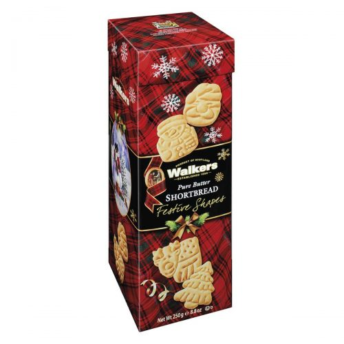 Top Food Feinkost - Walkers Shortbread Ltd. Festive Shapes Shortbread Tube 250g | Shortbread in weihnachtlichen Formen in aufwändiger Geschenkverpackung