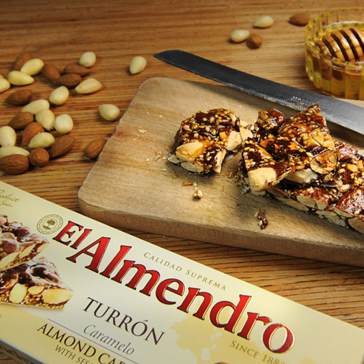 Top Food Feinkost - El Almendro Turrón Caramelo mit Sesam