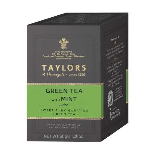 Top Food Feinkost - Taylors of Harrogate Green Tea with Mint 30g - 20 Aufgussbeutel |Sencha Grüntee mit Pfefferminze