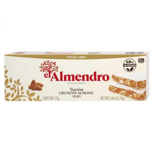 Top Food Feinkost - El Almendro Turrón Duro 75g |Weißer Nougat mit gerösteten Mandeln